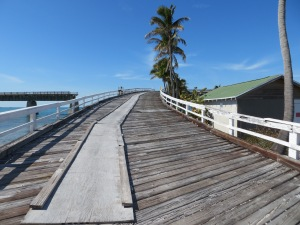 Wooden exit off 7 mile bridge to Pigeon Key
