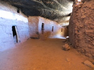 Inner hallway leading to many rooms.  The outer wall has holes in it for viewing canyon below