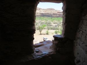 Metate in window sill overlooking San Juan River