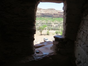 Metate in window sill overlooking San Juan River