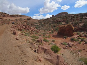 The large boulder to the right was covered on all sides with petroglyphs