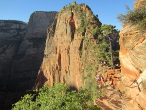 The last .6 mile of the Angels Landing Hike involves walking across this peak