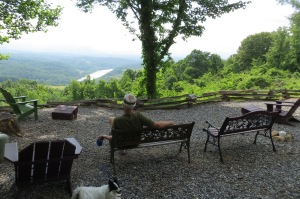Campfire Lodging overlooking the French Broad River