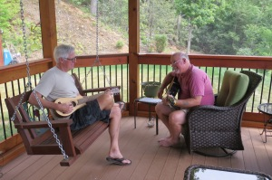 Pickin and grinnin with his cousin David