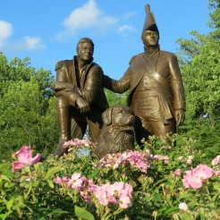 Lewis & Clark monument in the park along the Missouri River
