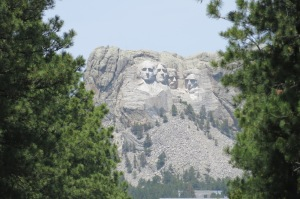 Mount Rushmore as seen from an opposing mountain.