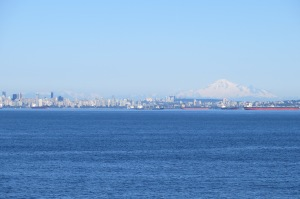 The beautiful city of Vancouver with snow capped mountains all around