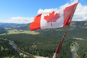 A flag that had been placed at the top of the ridge overlooking the campground and Kettle River