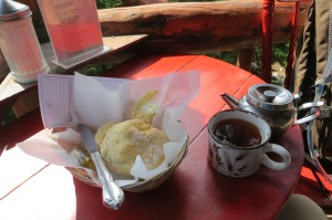 Fresh made biscuit and tea-nourishment for the trip down