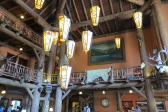 The interior of Lake McDonald Lodge with its hunting motif