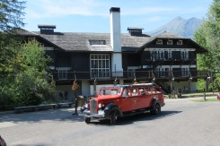 Our chariot in front of Lake McDonald Lodge