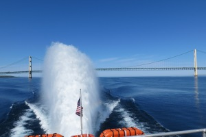 The rooster tail from our ferry and Mackinac Bridge, the largest suspension bridge in the US.